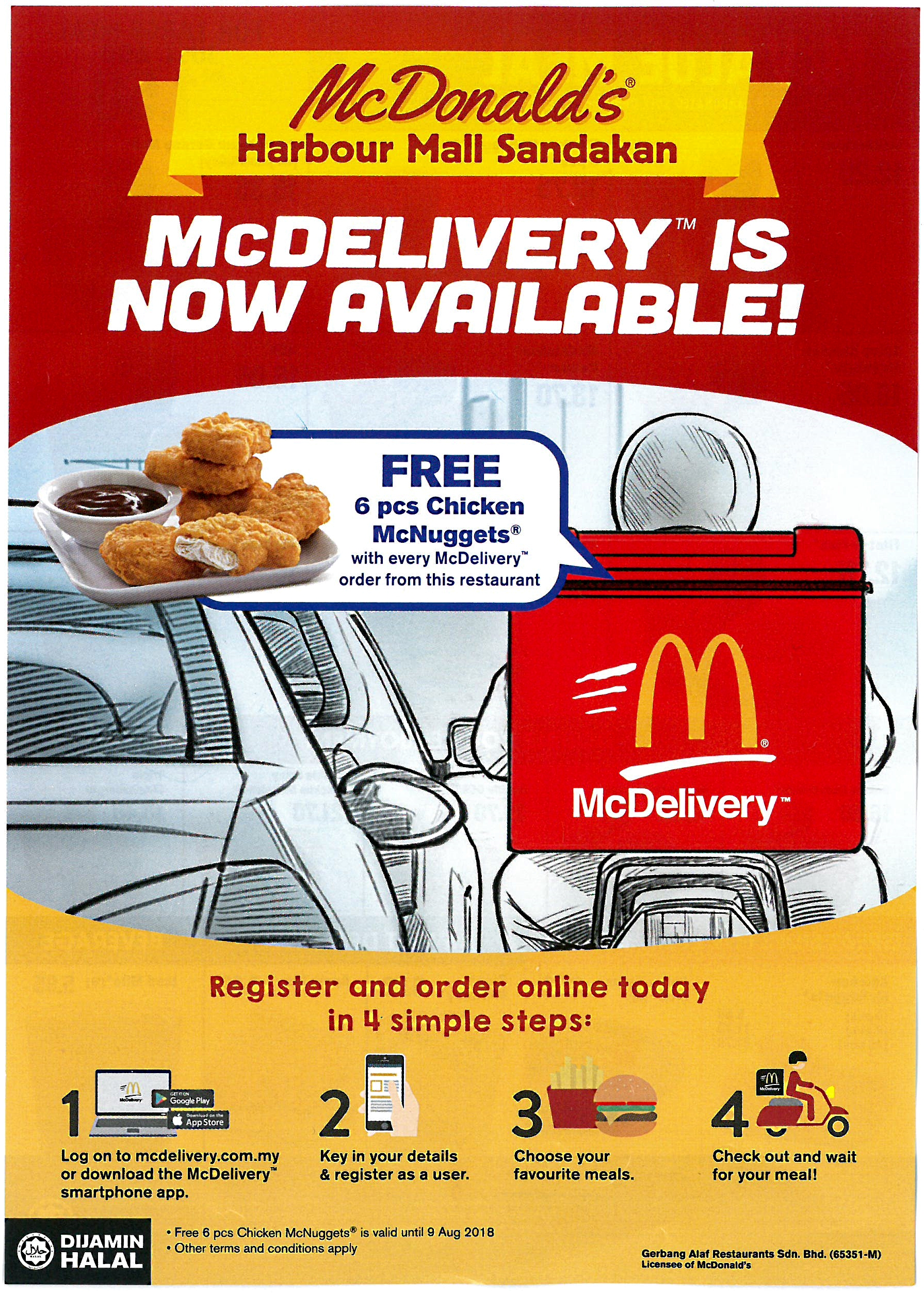 McDevilery is now available at McD Harbour Mall Sandakan