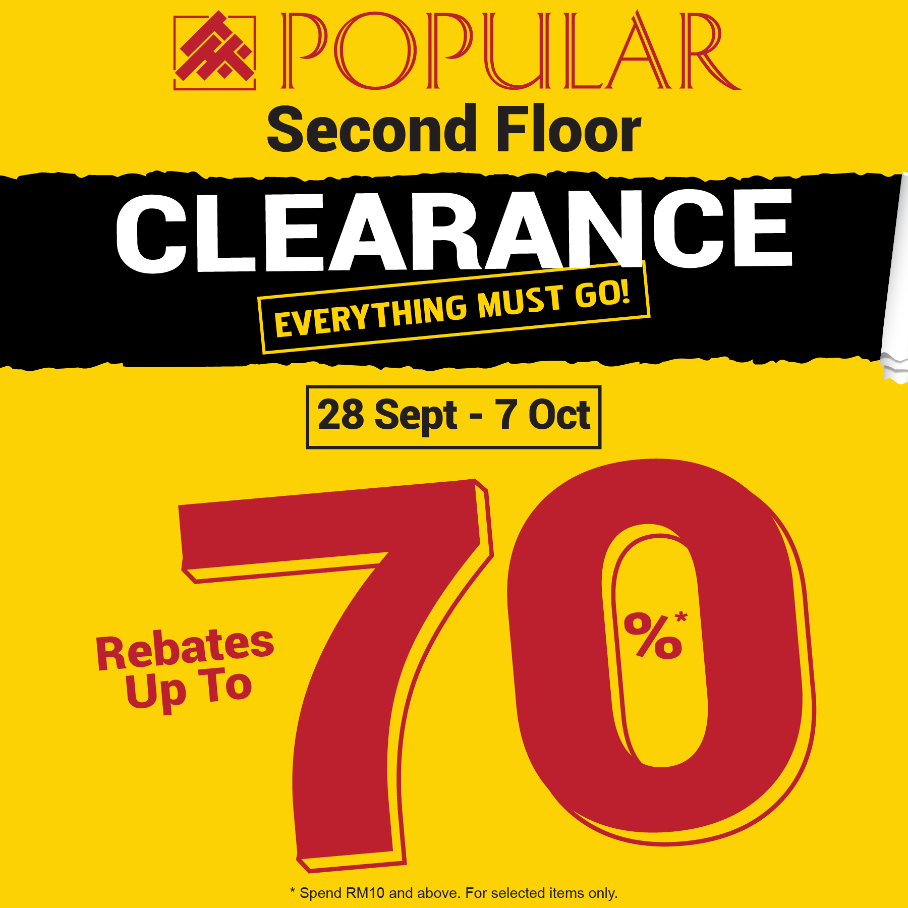 POPULAR CLEARANCE SALE (28 SEPT – 7 OCT 2018