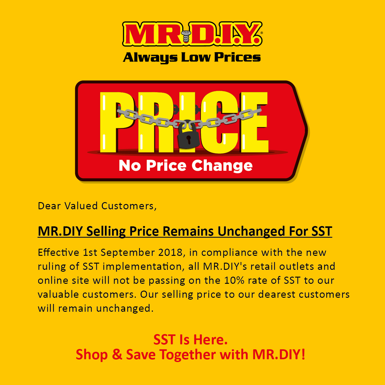 MR.DIY Selling Price Remains Unchanged for SST