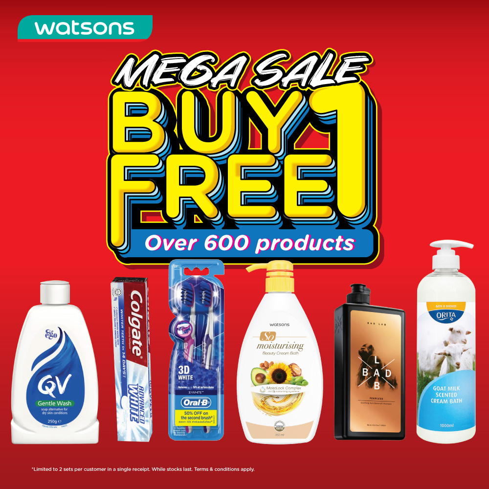Watsons Buy 1 Free 1 Mega Sale